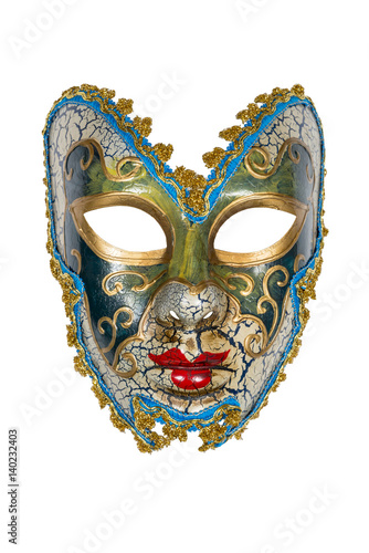 Poster Venetian mask isolated on white with clipping path.