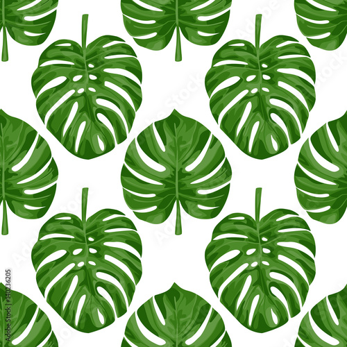 Cotton fabric Monstera Seamless Pattern