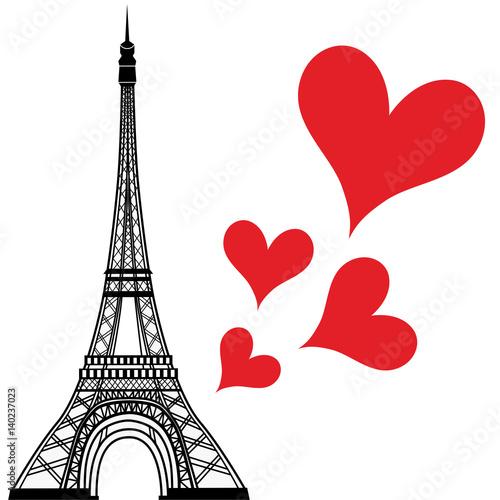 Paris town in France love heart, eiffel tower vector valentines day illustration © valarti