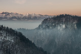 Beautiful winter panorama from Pieniny to snowy Tatra mountains in the morning, Poland