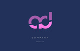 ad a d  pink blue alphabet letter logo icon - 140243288