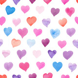 Seamless watercolor pattern with colorful hearts - pink, red, purple, blue tints. - 140244080