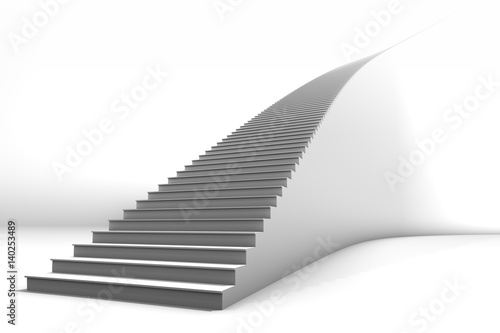 Tall White Curved 3D Illustrated Staircase on Bright White Background