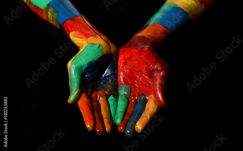 Multi Colors Oil Painted Hand Fist Close up praying gesture