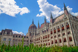 Facade of the Parliament building in Budapest Hungary