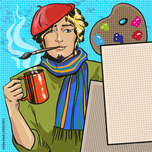 Vector illustration of painter in retro pop art comic style