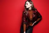 Fototapety fashion model  beautiful young woman. leather jacket, studio shot