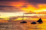 Beautiful sunset at Boracay beach, Philippines