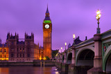 The Big Ben Tower and the Westminster Bridge after sunset