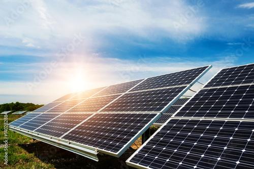 Poster Solar panel, photovoltaic, alternative electricity source - selective focus, cop
