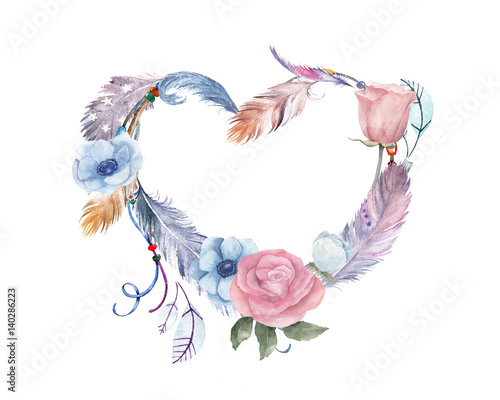 watercolor-floral-feathers-heart