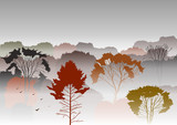 Vector illustration. Silhouettes of autumnal mountains with trees in fog. Smog, autumn mysterious landscape. Template for site, tourist brochures.
