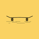 Skateboard on the yellow