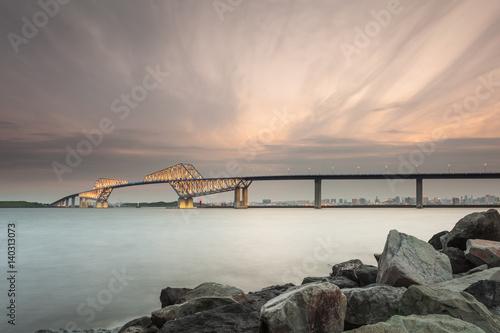 Tokyo bay with Tokyo gate bridge in evening