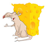 Illustration of a Cute Rat  and Cheese. Cartoon Character