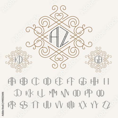 two letters monogram template in outline style set of letters from
