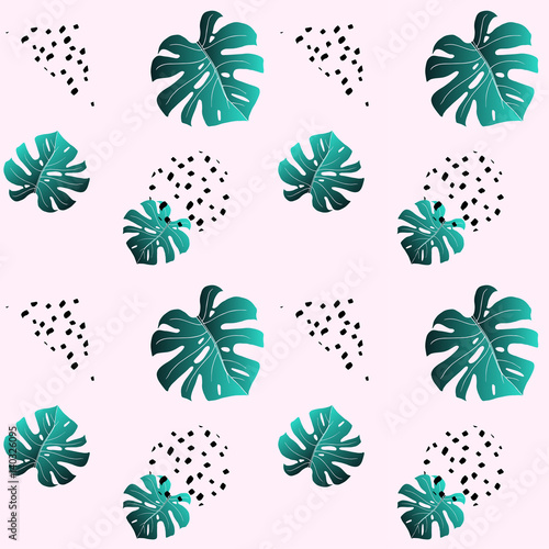 Materiał do szycia Pink seamless pattern a leaf of emerald monstera and black dots. Fashionable colors. Trendy texture for fabric textile. Vector. Funky background wallpaper, wrapper, site or cover.