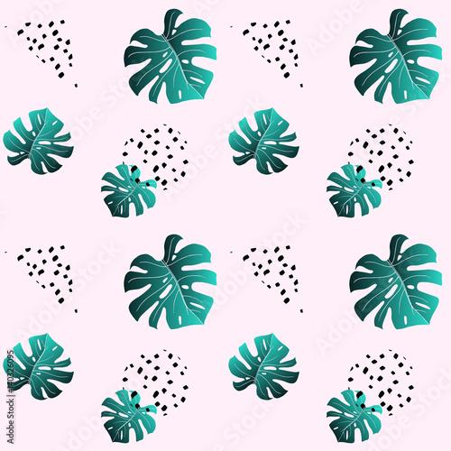 Materiał do szycia Różowy wzór liści szmaragd monstera i czarne kropki. Modne kolory. Modny tekstura tkanina włókienniczych. Wektor. Funky tło tapeta, otoki, strony lub okładki.