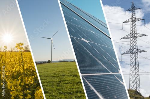 Ökologische Energie Hintergrund mit Solarpanel, Windmühle, Rapsfeld und Strommasten - Nachhaltige Energie Collage