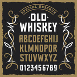 Whiskey label font 001 - 140341898