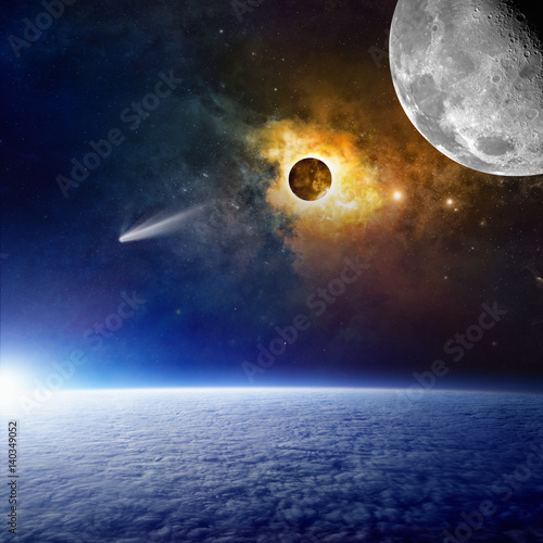 Foto op Canvas Planet Earth, bright comet, glowing nebula and moon in space