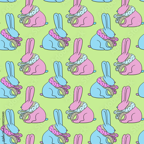 Easter bunny seamless pattern. Pastel colors.
