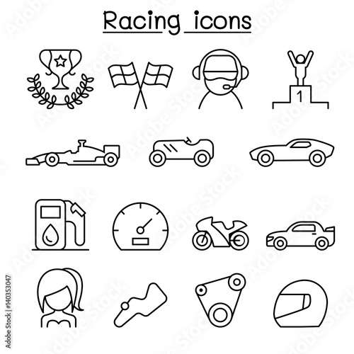 Fotobehang F1 Racing icon set in thin line style