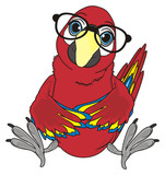 Animal, bird, parrot, red, colorful, wings, feather, beak, macaw, clever, pet, cartoon, sit, ara, black, glasses