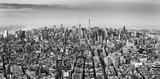 Aerial view of New York City midtown skyline in black and white - 140379268