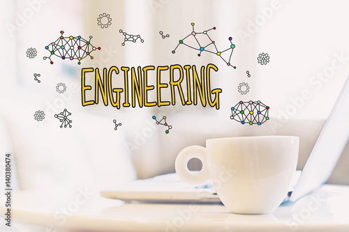 Engineering concept with a cup of coffee