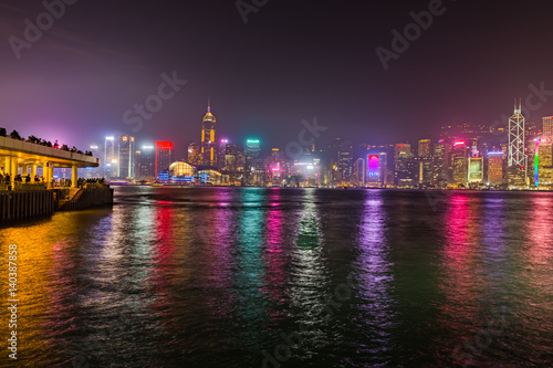 Poster skyline of hong kong at night