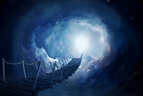 Fototapety Fantasy bridge in the space. 3D rendering