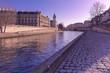 Embankment of the Seine near the Ile de la Cite in the winter morning, Paris, France