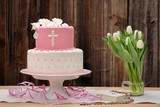 first holy communion cake on wooden background - 140394671