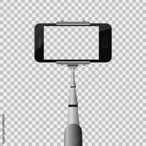 vector realistic monopod with phone on the transparent background