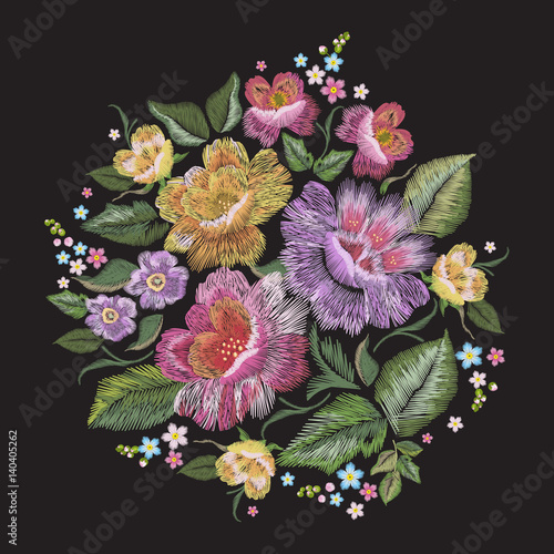 Embroidery colorful trend floral pattern. Vector traditional folk roses and forget me not flowers bouquet on black background for design. - 140405262