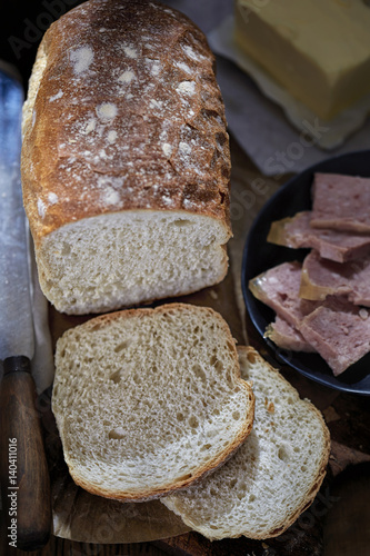 Poster Bread with butter and ham