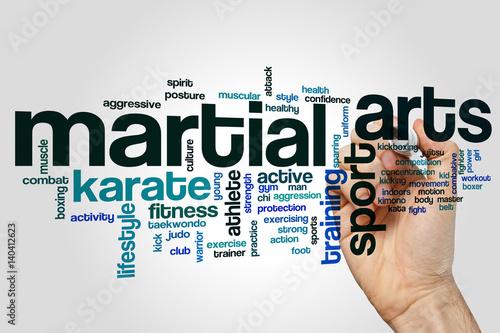 Martial arts word cloud concept Poster