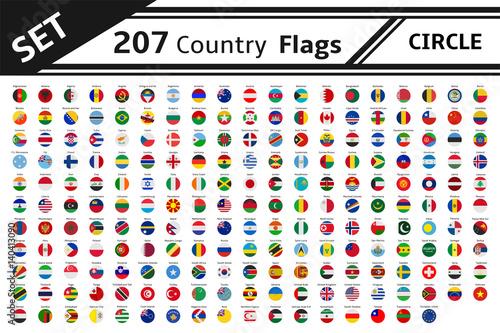 set 207 country flag circle