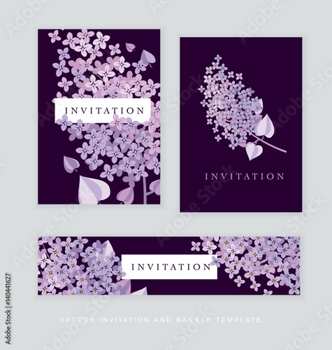 Lilac spring blossom vector illustration. Floral branch of violet blooming for cards, header, invitation, print..