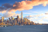 Downtown Manhattan skyline at sunset