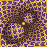 Optical illusion illustration. Two balls are moving in rotating hole. Purple arrows on yellow pattern objects. Abstract fantasy in a surreal style. - 140447263