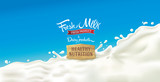 Design elements for label or packaging of dairy products - splash of milk, with a set of inscription. - 140449824
