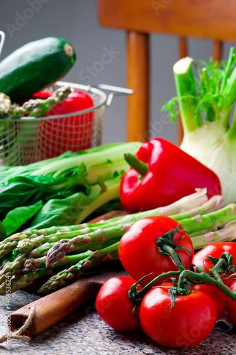 Fresh garden vegetables on the table