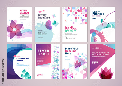 Beauty and wellness brochure cover design and flyer layout templates collection. Vector illustrations for marketing material, ads and magazine, products presentation templates. - 140455073