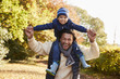 Portrait Of Walk With Father Carrying Son On Shoulders