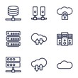 Set of 9 hosting outline icons