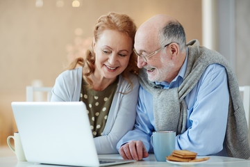 Portrait of smiling elderly couple, looking curious learning to use modern laptop home at table laughing joyfully