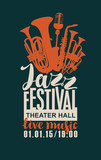 Template Poster for jazz festival with saxophone, wind instruments and a microphone