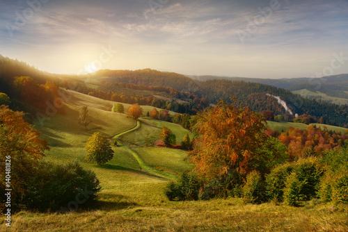 Fototapeta Beautiful view of sunrise in Pieniny mountains